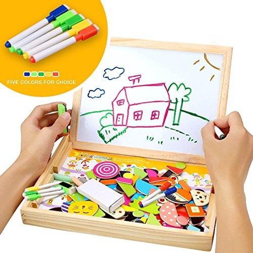 COOLJOY Puzzles Rompecabezas Magnéticos de Madera Juguete Educativo Tablero de Dibujo de Doble Cara para Niños Niña 3 Años 4 Años 5 Años   Acerca de 100 Piezas (Granja)