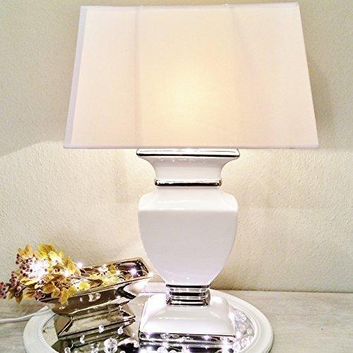 WHITE LADY Keramik Lampe 43cm Lampenfuß Lampenschirm Weiß Nachttischlamp Shabby -