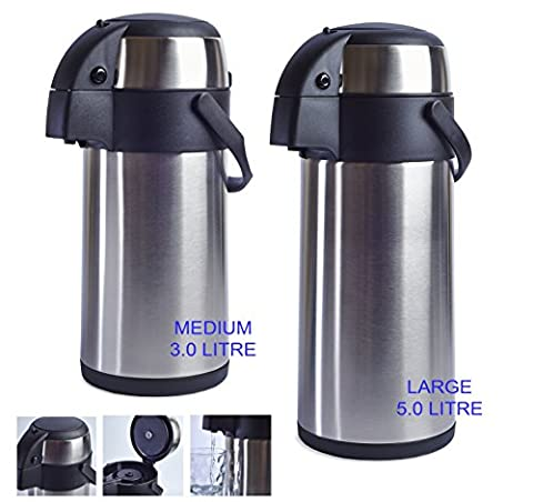 Stainless Steel Pump Action Vacuum AirPot Flask Jug - Ideal For Hot And Cold Beverages Drinks Tea Coffee Water (Medium