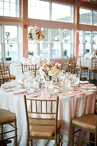 ShinyBeauty 304,8cm Weihnachten rund weiß Pailletten Tischdecke Leinen Tischdecke Hochzeit Decor Sparkle Party, weiß, 120inch Round - Tischdecke Leinen Quadratische Weiße