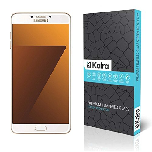 Kaira Samsung Galaxy C7 Pro Screen Protector, Premium Coated Tempered Glass Screen Protector Film Guard for Samsung Galaxy C7 Pro , Anti-explosion With all Finger Print Sensor , Light Sensor , Camera Cutting