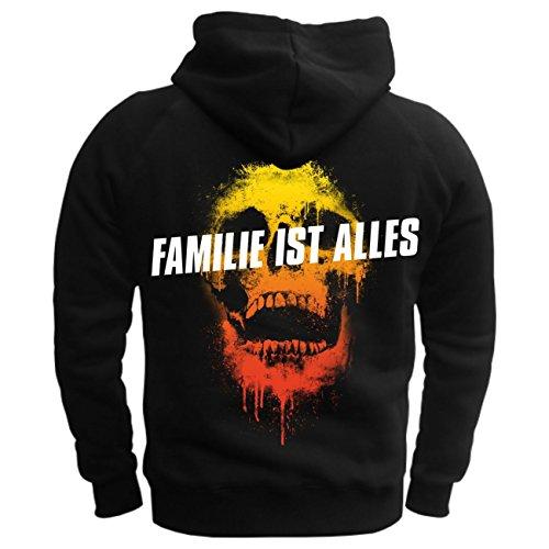 Männer und Herren Kapuzenpullover La Familia - Familie ist alles (mit Rückendruck) schwarz/rote kapuze