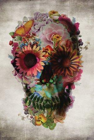 Póster de calavera de flores póster de servicio, 60,96 x 91,44...