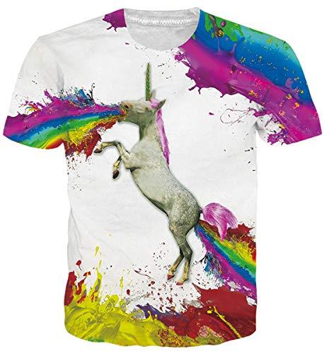 uideazone Mujer Short Sleeve Unicornio Camiseta