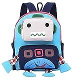 Freitop Kinderrucksack ab 3 Jahre Canvas mit Cartoon Roboter Muster Schulrucksack Rucksack Backpack Daypack Schulranzen Schultasche für 3-7 Jahre Kinder Jugendliche Mädchen Jungen Kindergarten Kita