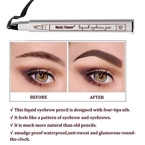 Penna tatuaggio sopracciglio con 4-tip marrone, Eyebrow Definer/Brow Wiz, impermeabile, matita per sopracciglia Brow gel per occhi trucco