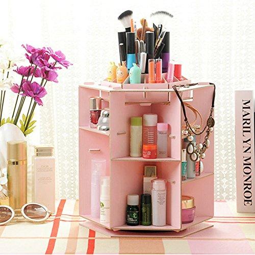 PIXNOR - Organizer per cosmetici, trucchi o gioielli, girevole, in legno, colore: rosa