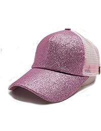 5ac879d85dd TTD Womens Glither Ponytail Cap Mesh Outdoor Trucker Hat Adjustable Snapback  Blank Baseball Cap Hat