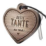 """Schlüsselanhänger aus Holz mit Gravur """"Beste Tante"""""""