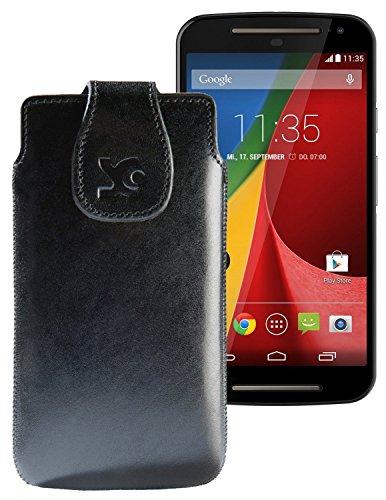 Suncase Tasche für / Motorola Moto G 4G LTE (2. Gen.) / Leder Etui Handytasche Ledertasche Schutzhülle Case Hülle / in schwarz