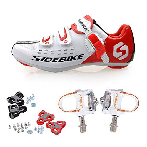 Skyrocket Chaussures de route Chaussures de vélo avec système de fixation aux pédales SD001 Blanc&Rouge / Pédale Blanche