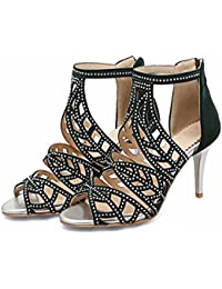Strass Sandaletten, Sommer Eleganz, Fisch Mund, zip, Diamant, high heel, weiblichen Sandalen, grün, 35