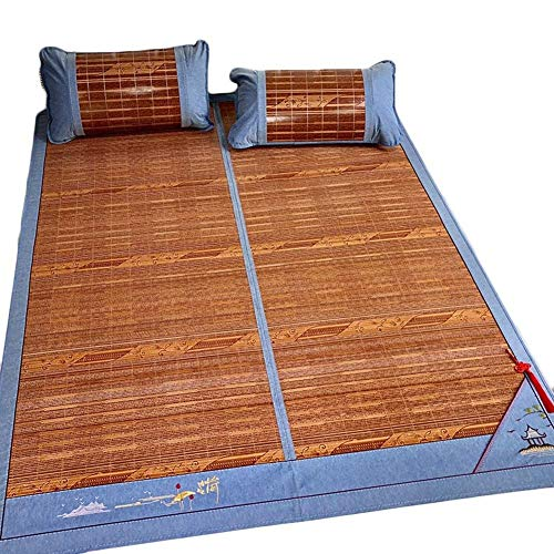 Bambus Matratzen Bettmatte Bambus Matratzen Sommer-Schlafmatten Strohmatte Teppiche Doppelseitig Falten Doppelt Natürliche Rebe Zuhause Bettbezüge 1,5/1,8 M (Color : B, Size : 150x195cm) (5x8 Teppich Bambus)