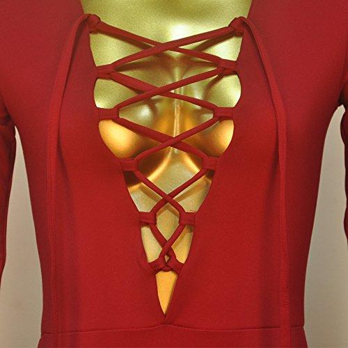 Damen Turnanzug Langärmlig V-Ausschnitt Bandage Dreieck Kordelzug Leotard Romper Jumpsuits Rot
