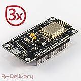 AZDelivery ⭐⭐⭐⭐⭐ NodeMCU Lua Lolin V3 Module ESP8266 (ESP-12E), Carte de développement Development Board Wi-FI avec CH340 (3X NodeMCU Lolin)
