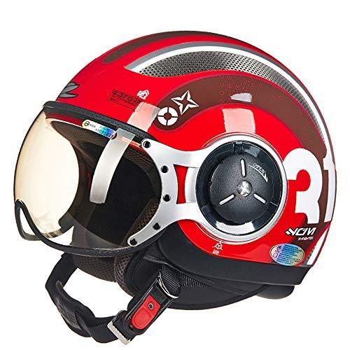 FLYFEI Mezzo Casco per MotoD.O.T ApprovatoCasco Moto ApertoCasco Summer HarleyCasco PilotaSkateboard Ciclomotore FuoristradaBambini AdultiCasco Scooter Cruiser,L(57~58cm)