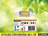 ECOBELLE® 1 x 6W R7s LED Leuchtmittel Lampe mit Gehäuse aus Keramik für bessere Kühlung, 750 Lumen, warm-weiß 3000K, 78 mm x 20 mm (Slim/Schmal Lampe!!!), 360°, Flicker Free, Kurz Lampe R7s!!!