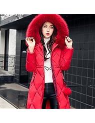 MRX Chaqueta de Mujer de Invierno de Algodón de Gran Tamaño de Las Mujeres en la Sección Larga con Capucha Chaqueta Gruesa,Rojo,L