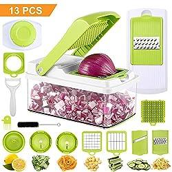 PREUP Gemüsehobel, 11 in 1 Mehrzweck Gemüseschneider Manueller Multischneider Gemüsehobel Set mit 7 Austauschbaren Edelstahl Klingen für Gemüse und Obst Zwiebelschneider Kartoffelschneider
