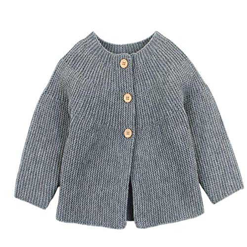 Spring Baby Girl Sweater Cardigans Autumn Newborn Knitted Jackets Toddler Infant Knitwear Coats Gray 82W480 12M
