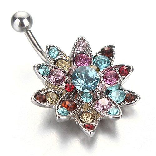 Xinmaoyuan gioielli di nozze migliore di vendita nuovo fiore chiodo ombelico fine di argento diamanti colorati (306) body piercing anello del ventre penzolare , argento regalo di nozze regalo di compleanno regalo per le feste