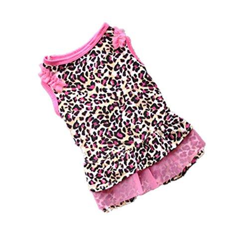 Clemunn Pet Shirt, Cute Leopard Sommer Pet Puppy Dress Kleine Hund Katze Pet Kleidung Bekleidung