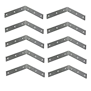Bulk Hardware BH01110 Bright Zinc Plated Corner Braces Brackets Plates, 75 mm (3 inch) - Pack of 10