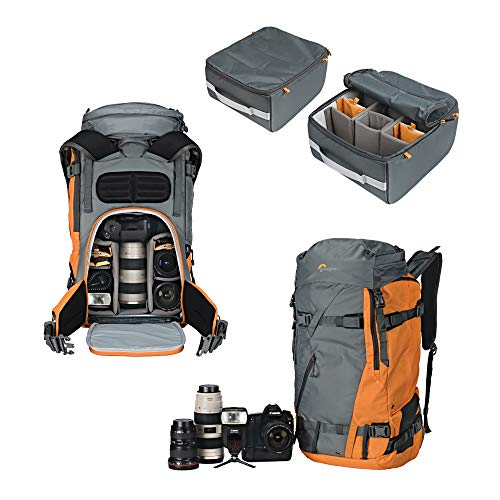 Lowepro LP37230-PWW Powder BP 500 AW Outdoor Rucksack (für Wintersport-,Trekking-Equipment für Foto/Video Equipment & persönliche Gegenstände, geeignet für DSLR/ Spiegellose und Zubehör) grau/orange