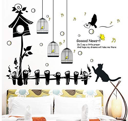 Zhimu fiori gatti e uccelli adesivi murali oggettistica per la casa soggiorno parete artistica rimovibile vinilos infantili adesivi con pared mataux 60x90cm