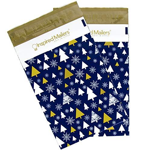Inspired Mailers Poly Mailers - Deluxe Designer Drucke - Premium ungepolsterte Versandtaschen 6x9 - Pack of 100 Deluxe Golden Christmas Trees