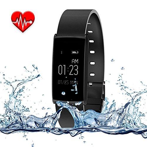 Kobwa Wasserdichtes 0.96 OLED Bluetooth 4.0 Fitness Tracker, Fitness Aktivität Armbänder Uhr Tracker mit Herz/Puls-Monitor, Schrittzähler, Kalorien Zähler, Schlaf Monitor Funktion,Kalorien Verbrauch Blutdruck; Kompatibel mit Android / IOS System - Kalorien Zähler-monitor