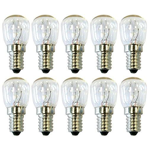 COM-FOUR® 10er Sparpack lámpara de refrigerador 15W 230V E14 64x28 mm, blanco...
