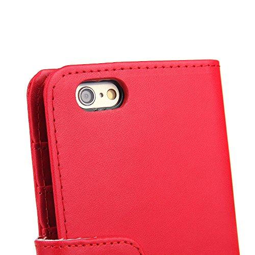 EnGive iPhone 6 Hülle (4.7 Zoll) Ledertasche Schutzhülle Case Tasche mit Standfunktion und Karte Halter (grün) Rot
