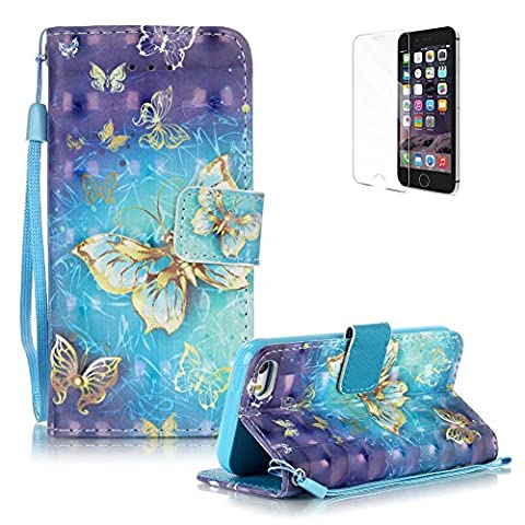 iPhone SE/iPhone 5/5S Case Cover [with Free Screen Protector], Funyye Practical Fashionable New 3D Patterns PU Folio Leather Wallet Designer Flip Magnetic with [Wrist Strap] and [Card Holder Slot] Shock Absorber Full Body Protection Holster Case Cover Skin Shell for Apple iPhone SE/iPhone 5/5S - Blue Gold Butterflies