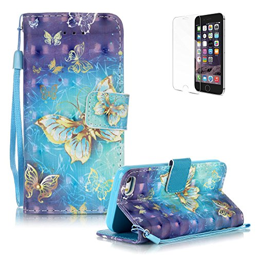 Price comparison product image iPhone SE/iPhone 5/5S Case Cover [with Free Screen Protector], Funyye Practical Fashionable New 3D Patterns PU Folio Leather Wallet Designer Flip Magnetic with [Wrist Strap] and [Card Holder Slot] Shock Absorber Full Body Protection Holster Case Cover Skin Shell for Apple iPhone SE/iPhone 5/5S - Blue Gold Butterflies