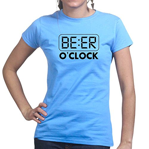 Beer O'clock - Funny Drinking Party Ladies T Shirt Top) 2X-Large Light Blue - Bier Womens Light T-shirt
