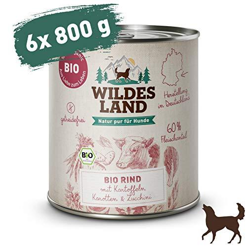 Wildes Land   Nassfutter für Hunde   Bio Rind   6 x 800 g   Getreidefrei & Hypoallergen   Extra hoher Fleischanteil von 60{4b1bfeabf76060f9e41d72a8a9d6b8c90ce5dd8db5ae2f26f6fb01407cbf2e29}   100{4b1bfeabf76060f9e41d72a8a9d6b8c90ce5dd8db5ae2f26f6fb01407cbf2e29} zertifizierte Bio-Zutaten   Beste Akzeptanz und Verträglichkeit