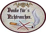 Kaltner Präsente Geschenkidee - Türschild Schild aus Holz im Antik Design Raucher Nichtraucher Schriftzug Danke FÜRS NICHTRAUCHEN (Ø 9 cm)