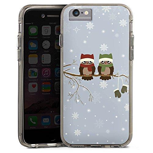 Apple iPhone 8 Bumper Hülle Bumper Case Glitzer Hülle Owl Eule Uhu Bumper Case transparent grau