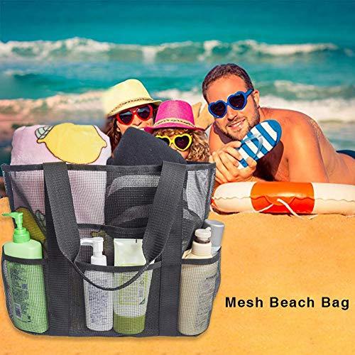 Motto.H Netz Strandtasche Extra Große Familie Mesh Beach Bag Tote Für Baden Shopper Urlaub Reise Picknick Pleasant