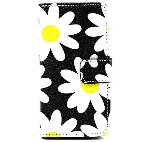 Ancerson multicolores étui de protection à rabat en cuir synthétique pour apple iPhone 5/5S/5 g dans la peinture à l'huile colorful painting à rabat style étui de protection en cuir avec fonction support et emplacements pour cartes Chrysanthemen