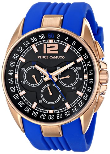vince-camuto-the-traveller-unisex-quartz-watch-with-black-dial-analogue-display-and-blue-silicone-st