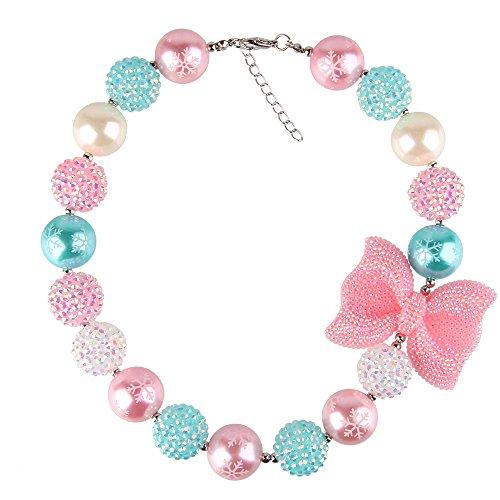BEWISH Bowknot Halskette Perle Kette Pink Herzen Schneeflocke Muster Süße Bowknot Anhänger Schleife Halskette für Mantel Pullover Frauen Mädchen