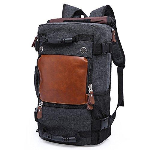 Drf zaino in tela outdoor viaggio borsa a tracolla a spalla mutifunzione #bg238 (nero)