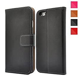 Apple iPhone Genuine Leather Case, Premium Leather Wallet Case with [Kickstand] [Card Slots] [Magnetic Closure] Flip Notebook Cover Case for iPhone