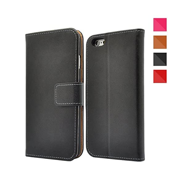 Apple iPhone Genuine Leather Case, Premium Leather Wallet Case with [Kickstand] [Card Slots] [Magnetic Closure] Flip Notebook Cover Case for iPhone 51PDvWtlAkL