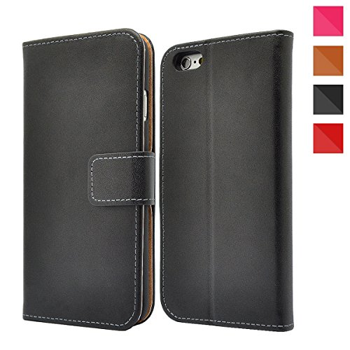 Apple iPhone Genuine Leather Case, Premium Leather Wallet Case with [Kickstand] [Card Slots] [Magnetic Closure] Flip Notebook Cover Case for (iPhone 4 / 4s Black) + Free Screen Protector
