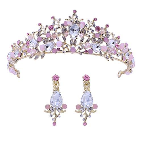 Frcolor Hochzeit Tiara und Krone Strass Blume Braut Prinzessin Krone mit Ohrringen