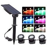 Patzbuch LED Solar Strahler 18 LEDs Wasserdicht Solar Security Outdoor Garten Rasen Lichter Unterwasser Teichleuchten, Mehrfarbig