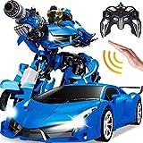 AIOJY Gesto Sensing Radio RC Elettrico Ricaricabile 01:12 2.4G RC Veicolo Robot di deformazione Giant Robot 2-in-1 deformazione Auto Robot Il Migliore Regalo di Natale for i Bambini (Color : Blu)